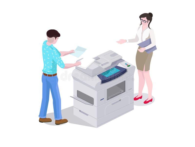 isometrischer Mann der Zusammensetzung 3d und eine Frau im Bürodruck und die Dateien auf dem Drucker kopieren stock abbildung