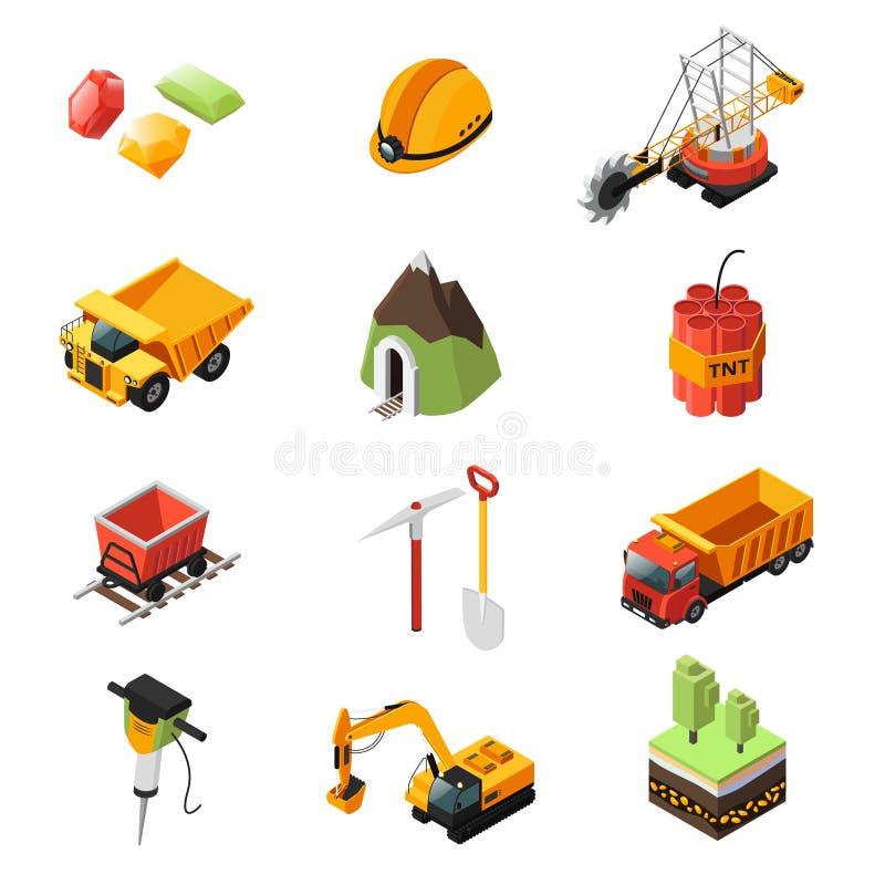 Isometrischer Minenindustrie-Element-Satz stock abbildung