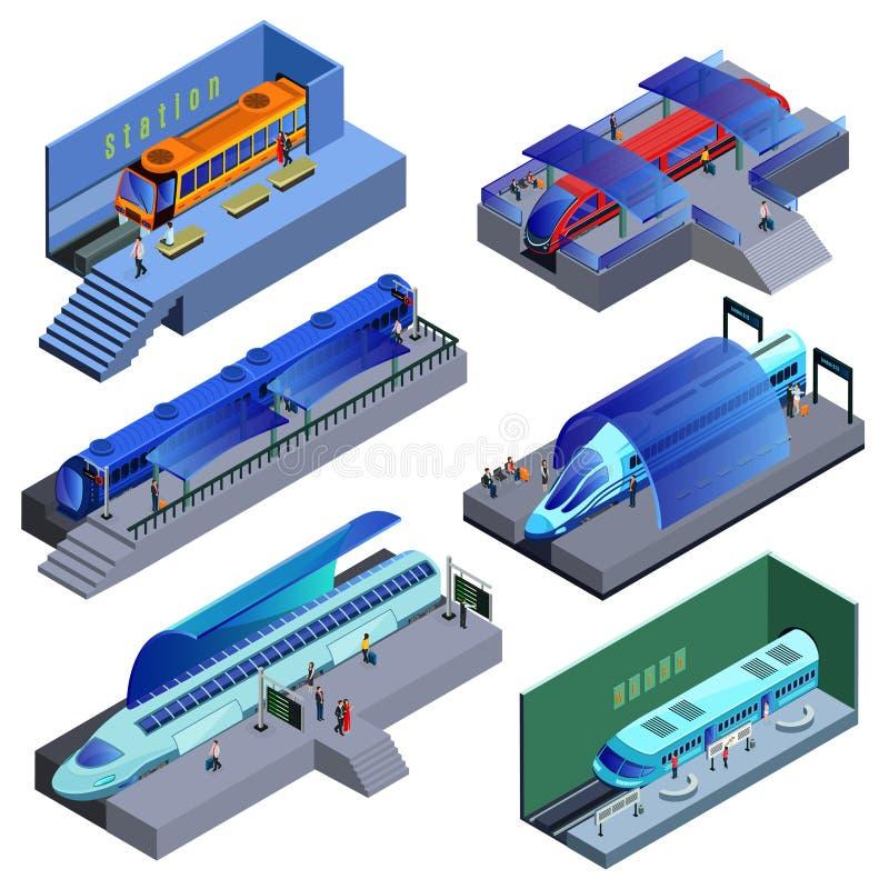 Isometrischer moderner Schienentransport-Satz stock abbildung
