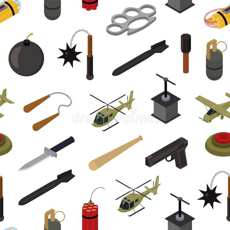 Isometrischer nahtloser Muster-Hintergrund der Waffen-3d Vektor lizenzfreie abbildung
