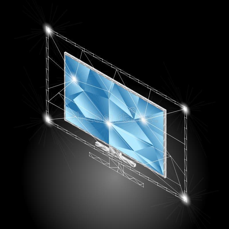 Isometrischer niedriger Polyplasmafernseherschirm stock abbildung