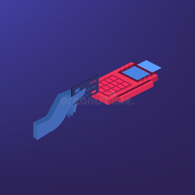 Isometrischer Positions-Anschluss bestätigt die Zahlung durch Debetkreditkarte Vektorillustration im flachen Design NFC-Zahlungen lizenzfreie abbildung