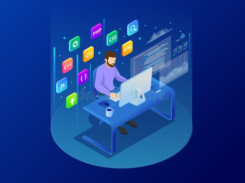 Isometrischer Programmierer, der das neue Projekt sitzt auf Computer mit Befehlszeile Web-Entwicklung, Programmierungskonzept kod stock abbildung