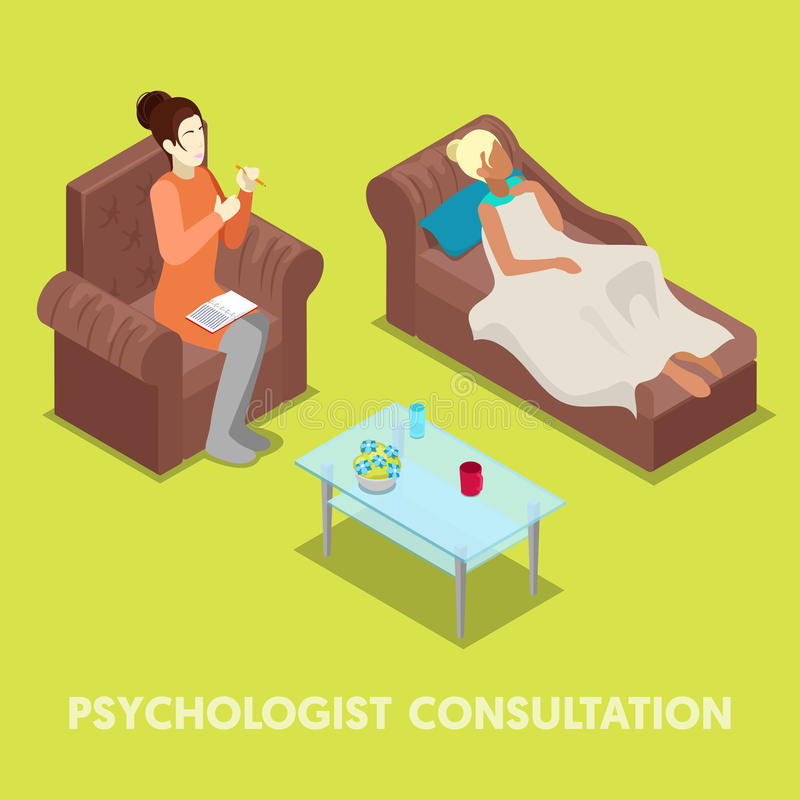 Isometrischer Psychologe Consultation Frau auf Psychotherapie lizenzfreie abbildung
