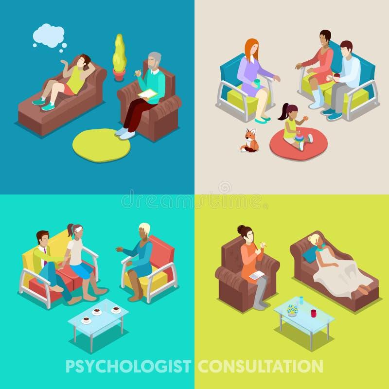 Isometrischer Psychologe Consultation Leute auf Psychotherapie lizenzfreie abbildung