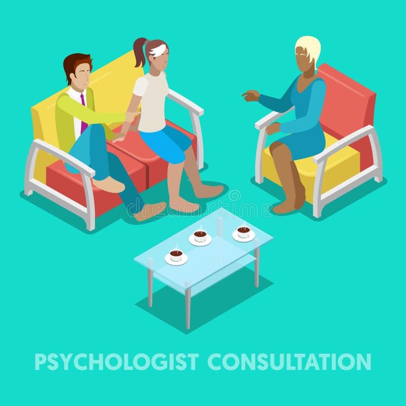 Isometrischer Psychologe Consultation Paare auf Psychotherapie lizenzfreie abbildung