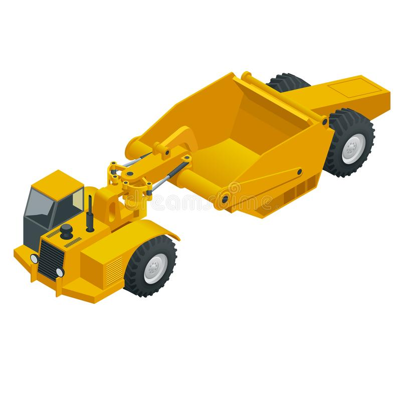 Isometrischer Radtraktorschaber Drehen Sie Traktorschaber, die schwere Ausrüstung, die für Erdverlagerung benutzt wird Schaber ei stock abbildung