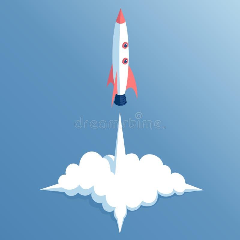 Isometrischer Raketenstart lizenzfreie abbildung