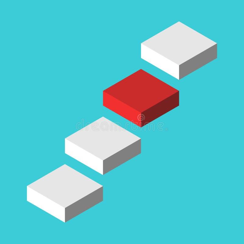 Isometrischer roter nächster Schritt in einer Luft unter den weißen auf Türkisblauhintergrund Karriere, Entwicklung, Herausforder lizenzfreie abbildung