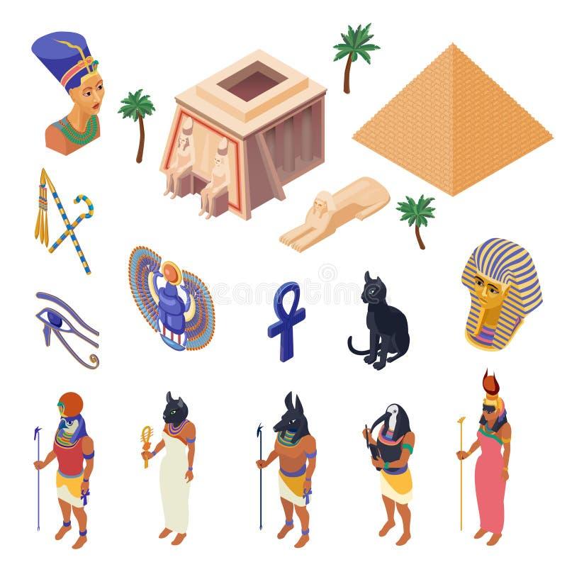 Isometrischer Satz Ägyptens stock abbildung