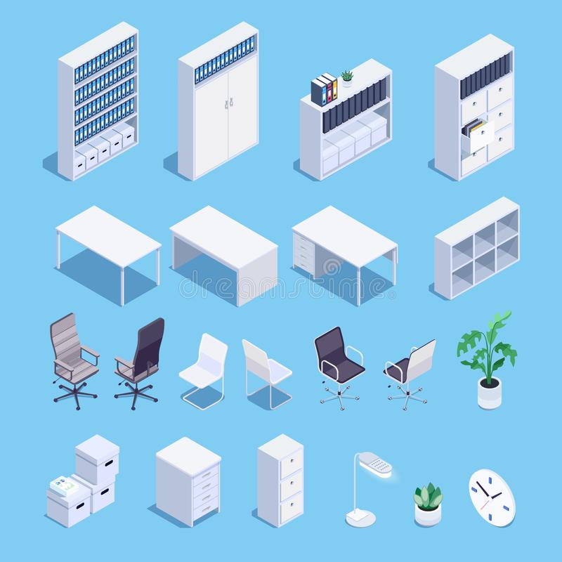 Isometrischer Satz Büromöbelikonen lizenzfreie abbildung
