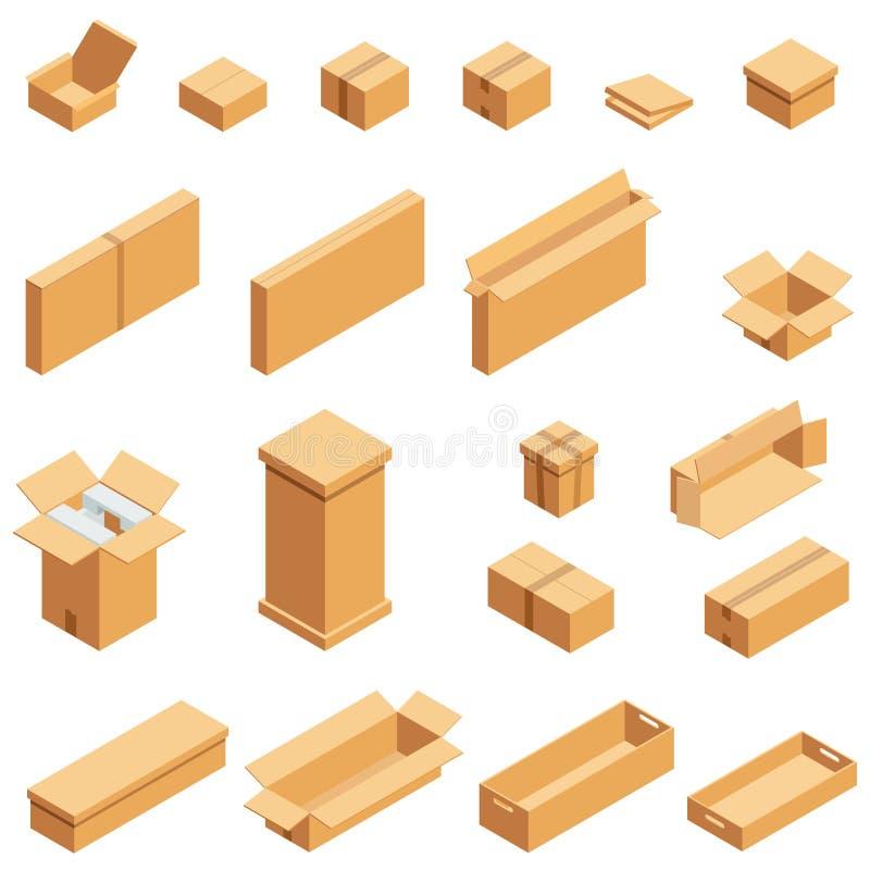 Isometrischer Satz der braunen Pappschachtel lokalisiert auf weißem Hintergrund Isoleted-Vektorillustration Offen und nah leeren lizenzfreie abbildung