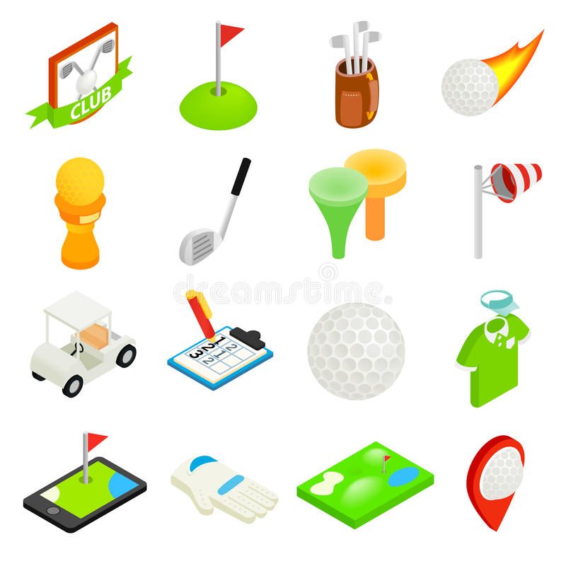 Isometrischer Satz der Ikone 3d des Golfs lizenzfreie abbildung