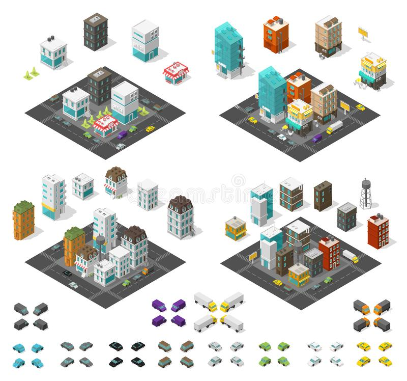 Isometrischer Satz der Stadt Stadtbildinfrastrukturviertel Reihenhäuser und Straßen mit Autos Städtisches Tief Poly Auch im corel stock abbildung