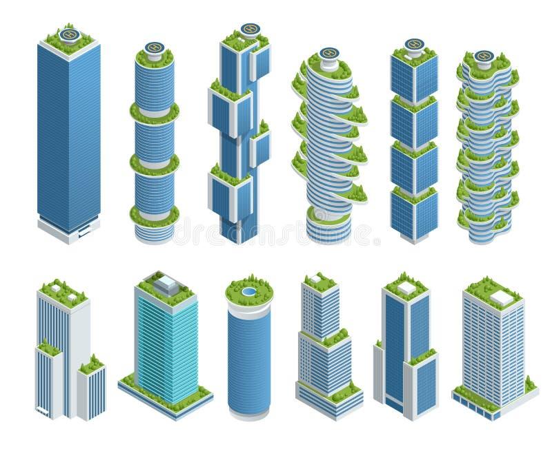Isometrischer Satz des modernen ökologischen Wolkenkratzers mit vielen Bäumen auf jedem Balkon Ökologie und grünes Leben in der S lizenzfreie abbildung