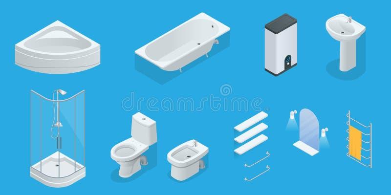 Isometrischer Satz des Vektors Badezimmermöbel Jacuzzi, Bad, Kessel, Waschbecken, Dusche, Dusche, Toilette, Bidet, Trockner lizenzfreie abbildung