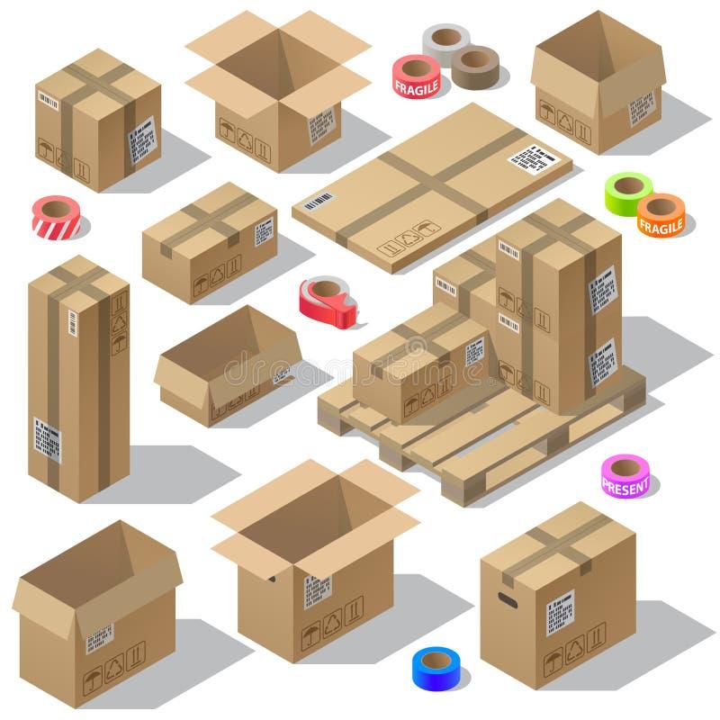 Isometrischer Satz des Vektors 3d Pappverpackung lizenzfreie abbildung