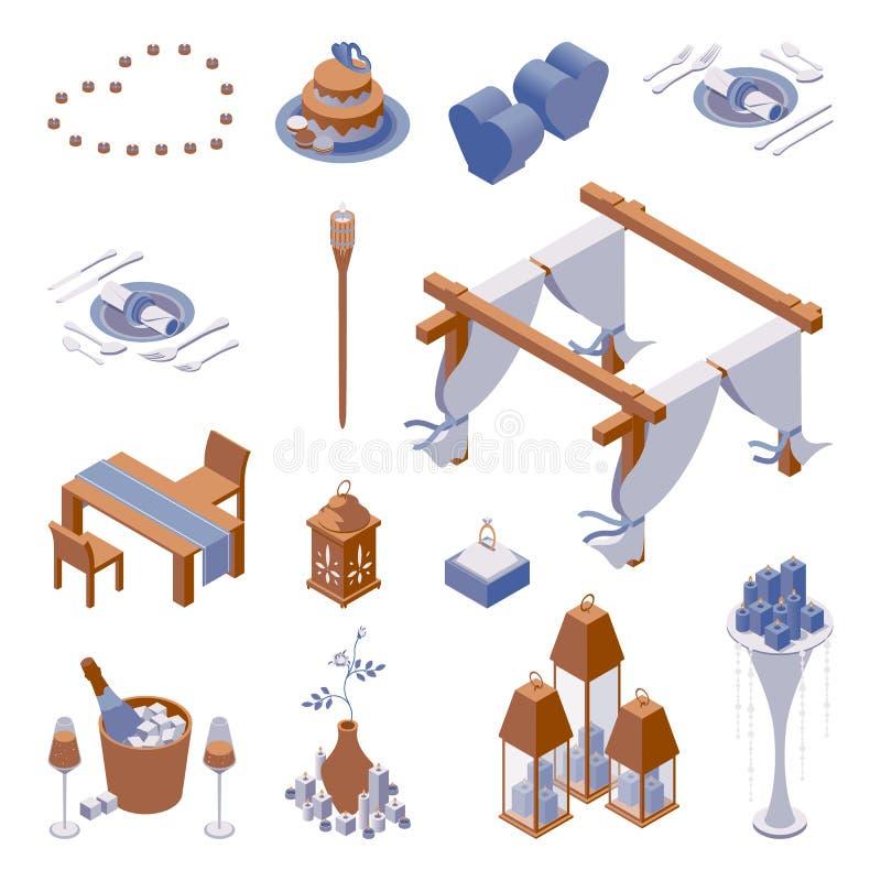 Isometrischer Satz Gegenstände für Verzierungsromantische Abendessenszene des strandes mit Kerzenlichtern, Gedeck und Kuchen, Her stock abbildung