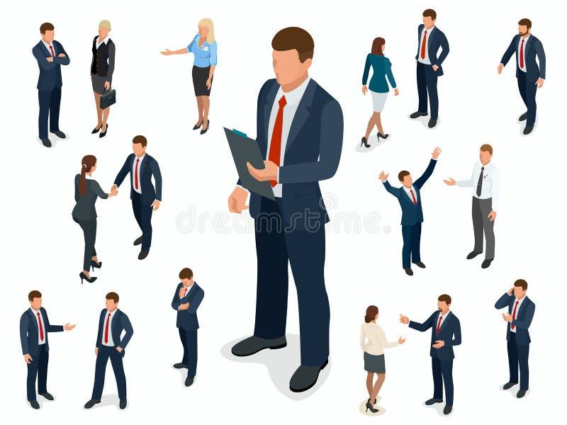 Isometrischer Satz Geschäftsmann- und Geschäftsfraucharakterdesign Isometrischer Geschäftsmann der Leute in den verschiedenen Hal vektor abbildung