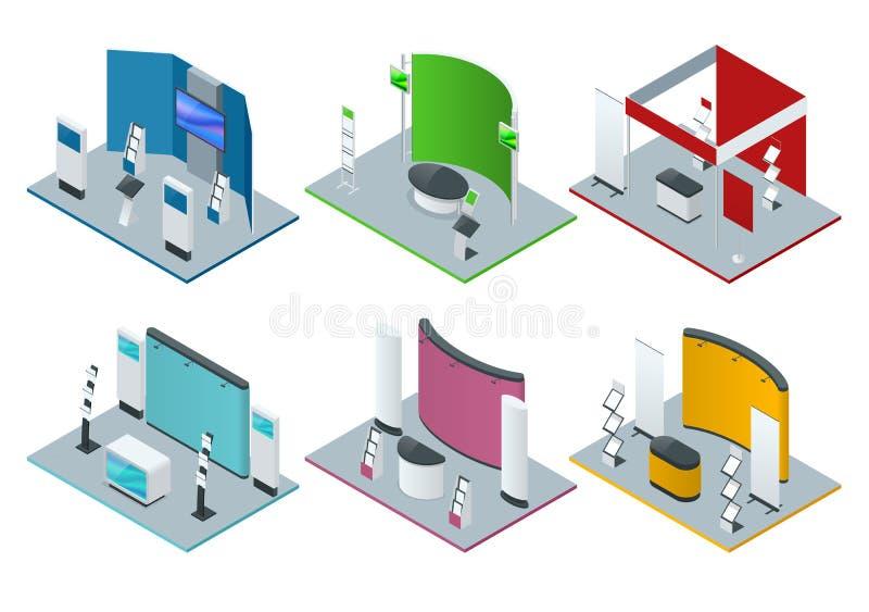 Isometrischer Satz von fördernden Ständen oder von Ausstellung steht einschließlich Anzeigenschreibtischregale und -mitteilungsbl stock abbildung