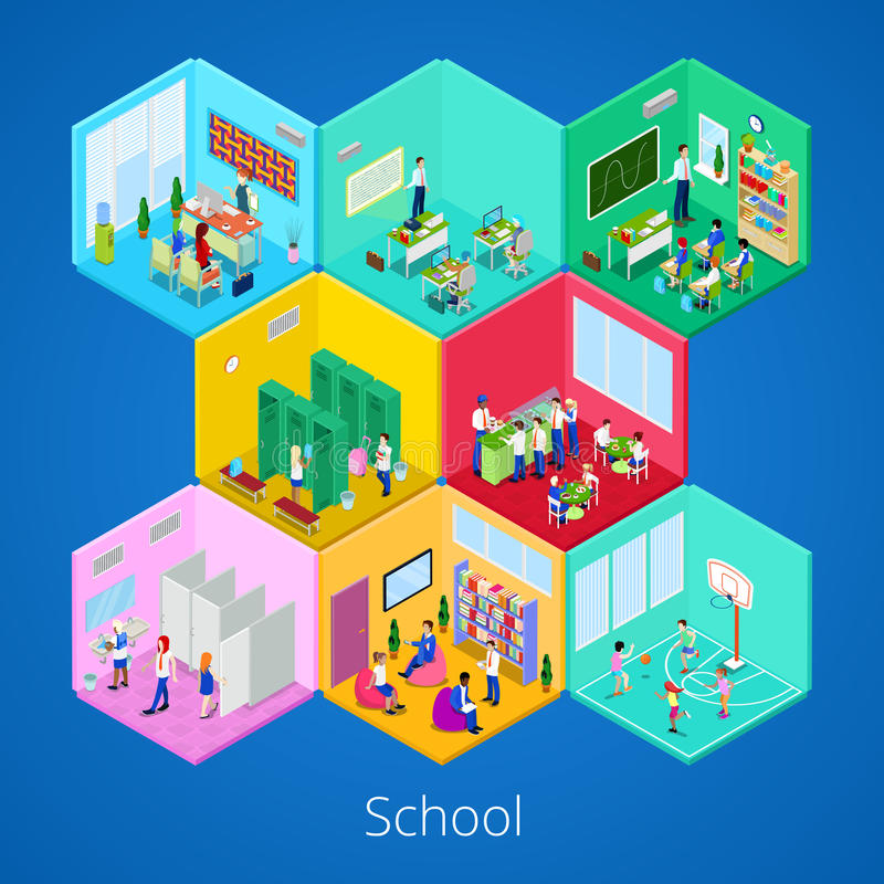 Isometrischer Schulinnenraum mit Vorlesungssal, Bibliothek, Esszimmer und Klassenzimmer lizenzfreie abbildung