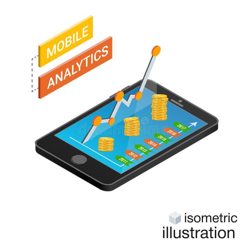 Isometrischer Smartphone mit den Diagrammen lokalisiert auf einem weißen Hintergrund Bewegliches Analytikkonzept Isometrische Vek vektor abbildung