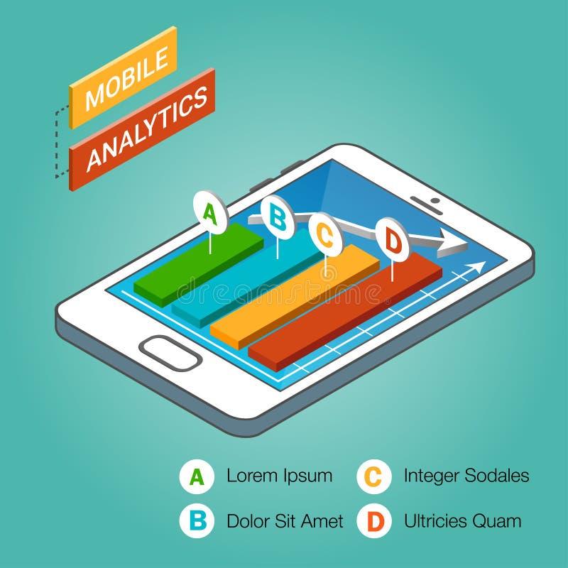 Isometrischer Smartphone mit Diagrammen Bewegliches Analytikkonzept stock abbildung