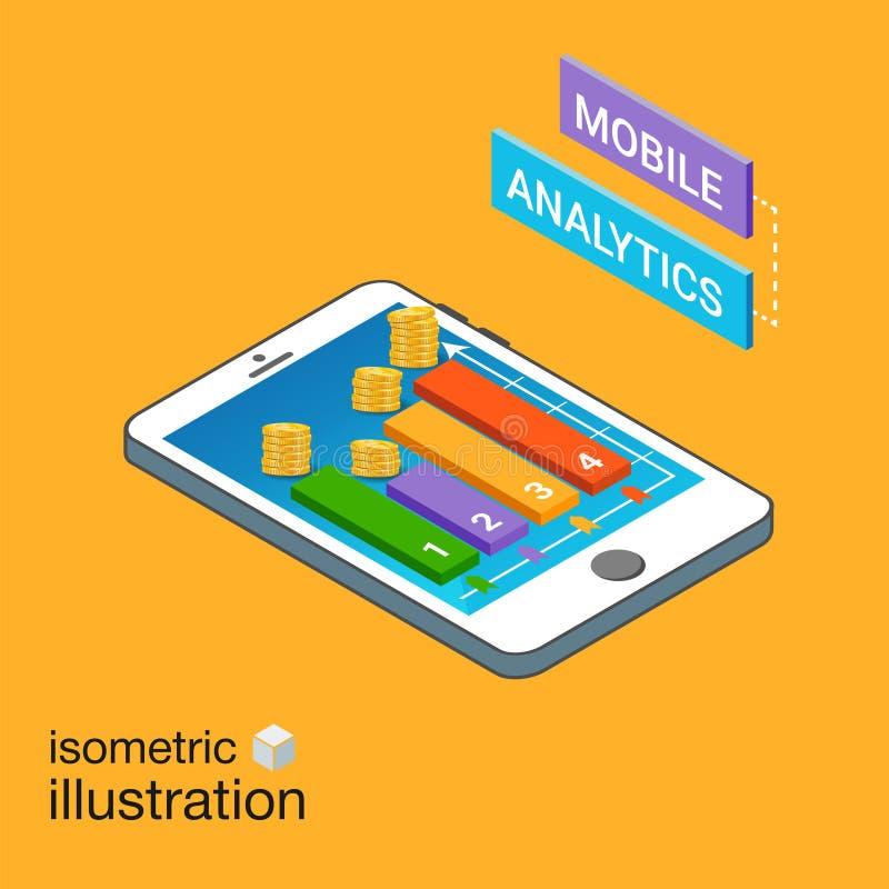 Isometrischer Smartphone mit Diagrammen Bewegliches Analytikkonzept Moderne infographic Schablone Isometrische Vektor-Illustratio stock abbildung