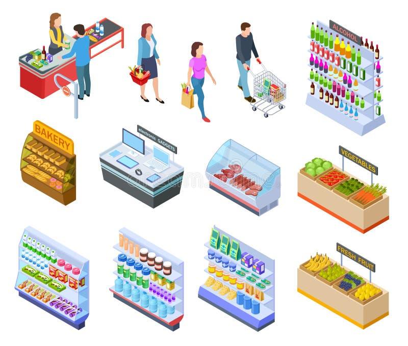 Isometrischer Speicher der Leute Einkaufslebensmittelgeschäftmarktkunden-Supermarktprodukte, Personen in der Einzelhandelsgeschäf vektor abbildung