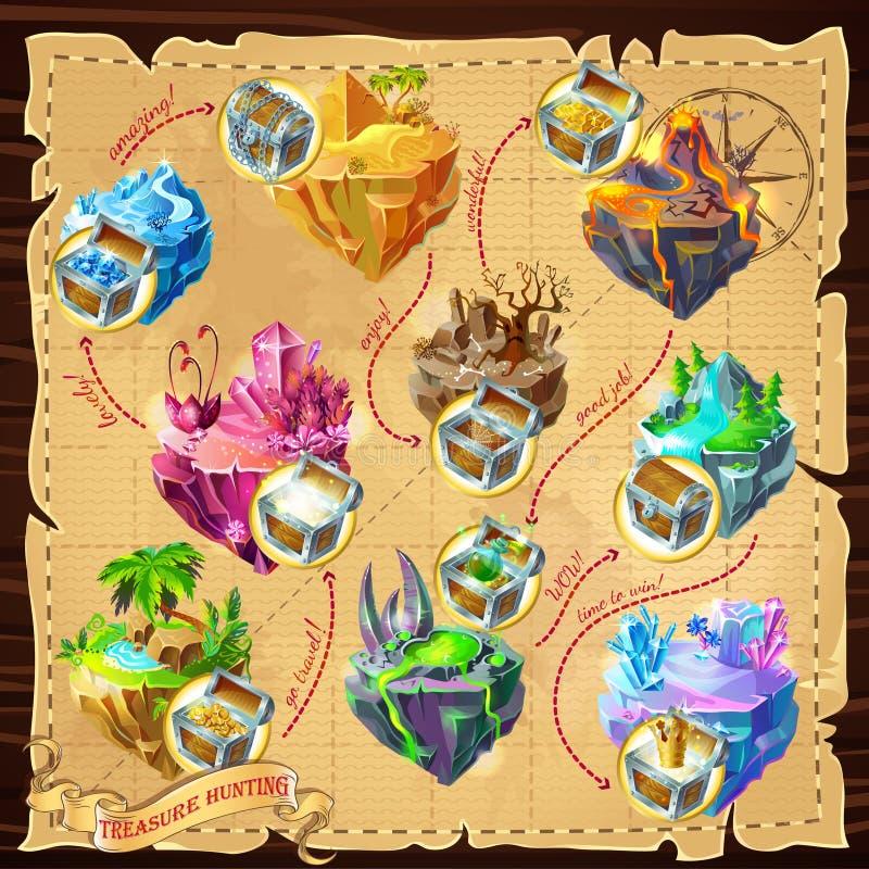 Isometrischer Spiel-Niveau-Karten-Hintergrund lizenzfreie abbildung