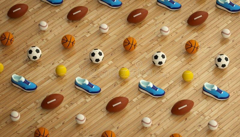 Isometrischer Sporteignungshintergrund gemacht vom Fußball, vom Fußball, vom Tennis, von den Baseballbällen und von den bunten la stock abbildung