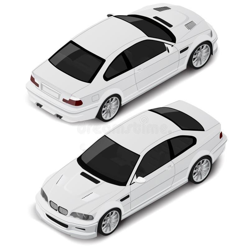 Isometrischer Sportwagen der hohen Qualität des Vektors Transportikone oder infographic Element Kann für isometrische Zusammenset vektor abbildung