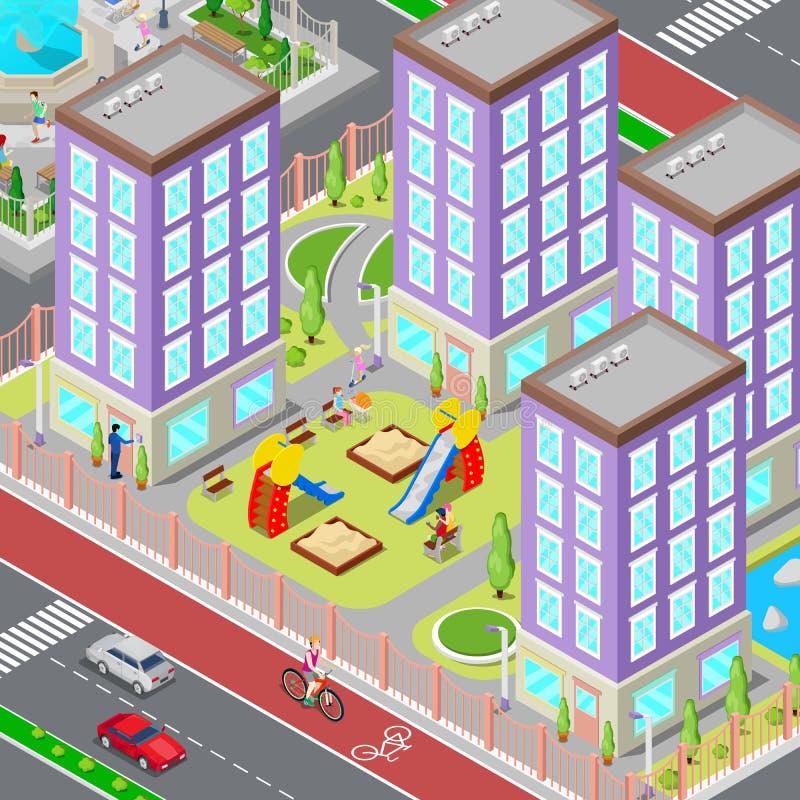 Isometrischer Stadt-Schlafenschlafsaal-Bereich Modernes Yard mit Häusern und Spielplatz Vektor vektor abbildung