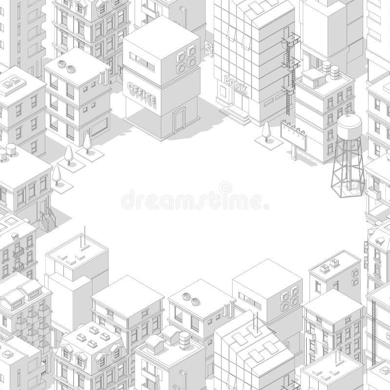 Isometrischer Stadtgebäuderahmen Beschneidungspfad eingeschlossen Graue Linien umrei?en Konturnart Immobilien des Hintergrundes A lizenzfreie abbildung
