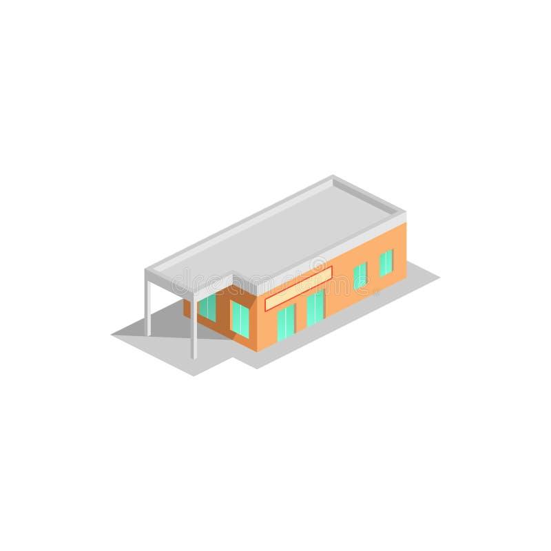 Isometrischer Supermarkt mit Auto-Parken Stadteinkaufszentrumgebäude lizenzfreie abbildung