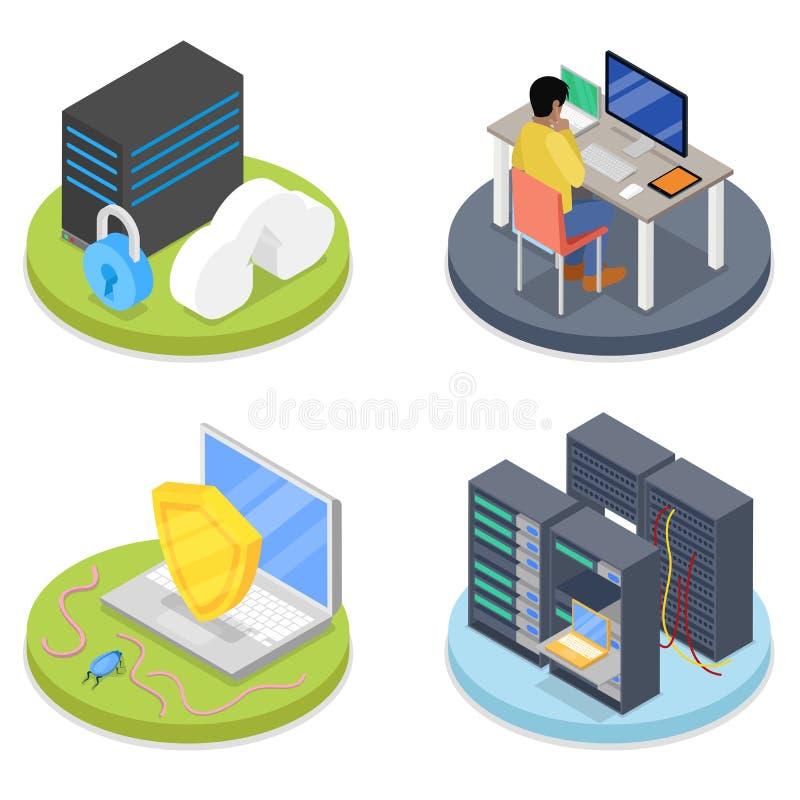 Isometrischer Systemverwalter Serverraum Laptop und CAB-Datei mit Ringmappen Blaues Ethernet-Kabel, das ein Vorhängeschloß formt stock abbildung