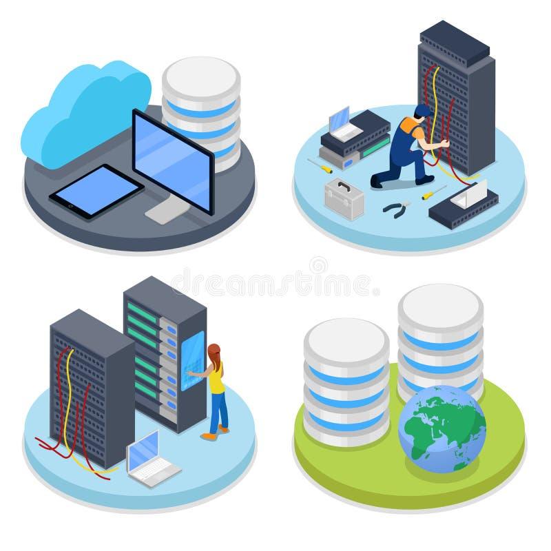 Isometrischer Systemverwalter Serverraum Laptop und CAB-Datei mit Ringmappen IT-Personal lizenzfreie abbildung