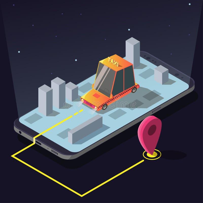 Isometrischer Taxiautoauftragsservice App, gelbes Fahrerhaus vektor abbildung