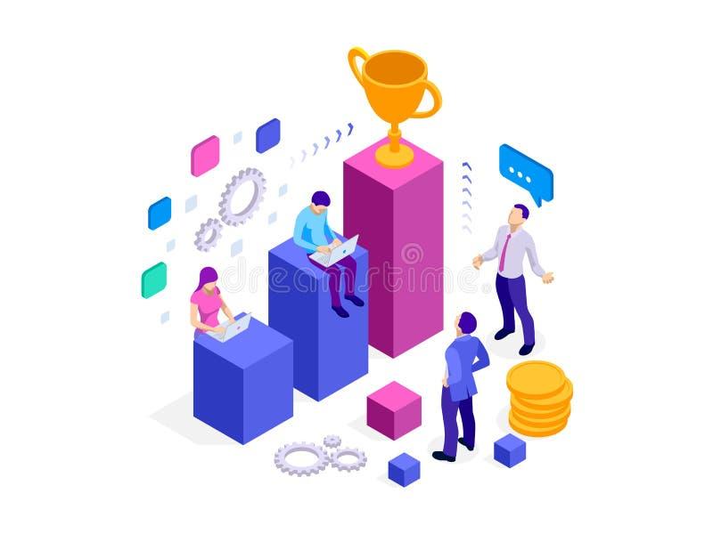 Isometrischer Team-Erfolg und Teamwork Flache Entwurfsart-Netzfahnen für Geschäftsarbeitsfluß und Erfolg, Projektleiter stock abbildung