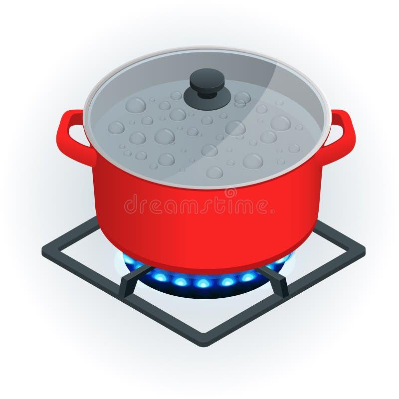 Isometrischer a-Topf auf einem Gaskocher auf einem weißen Hintergrund Blaue Flamme des Vektors stock abbildung