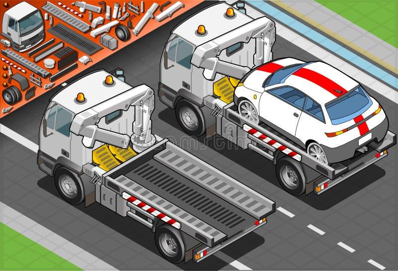 Isometrischer Tow Truck in der Auto-Unterstützung in der hinteren Ansicht vektor abbildung