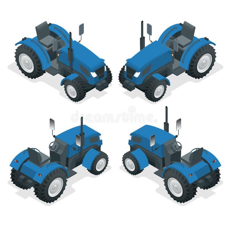 Isometrischer Traktor funktioniert auf einem Gebiet Landwirtschaftsmaschinerie Pflügen auf dem Gebiet Schwere landwirtschaftliche lizenzfreie abbildung