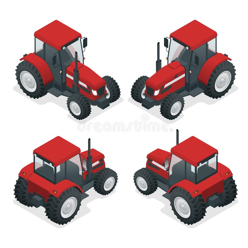 Isometrischer Traktor funktioniert auf einem Gebiet Landwirtschaftsmaschinerie Pflügen auf dem Gebiet Schwere landwirtschaftliche vektor abbildung