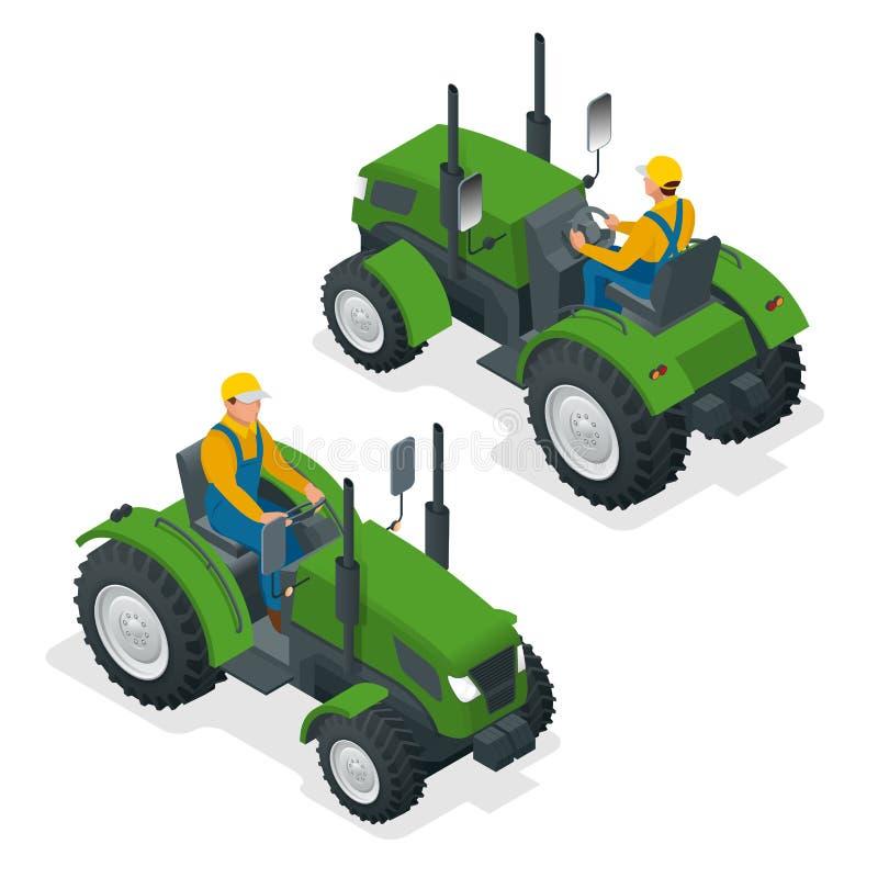 Isometrischer Traktor funktioniert auf einem Gebiet Landwirtschaftsmaschinerie Pflügen auf dem Gebiet Schwere landwirtschaftliche stock abbildung