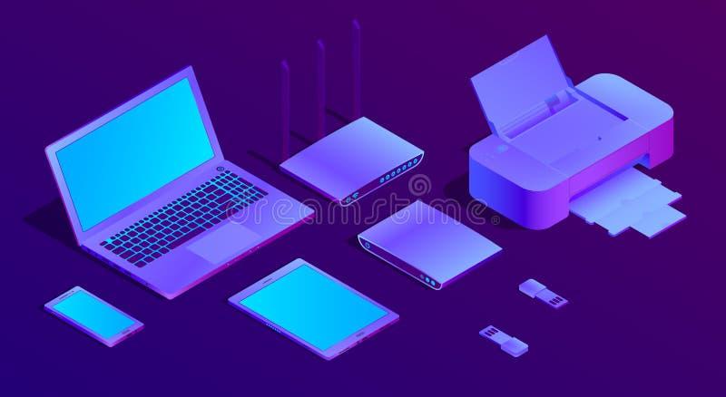 Isometrischer ultravioletter Laptop des Vektors 3d, Drucker stock abbildung