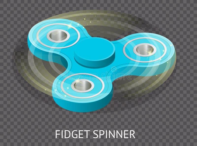 Isometrischer Vektor 3d ein blauer Unruhespinner oder Handspinner Unruhespielzeug für erhöhten Fokus, Entspannung auf transparent lizenzfreie abbildung