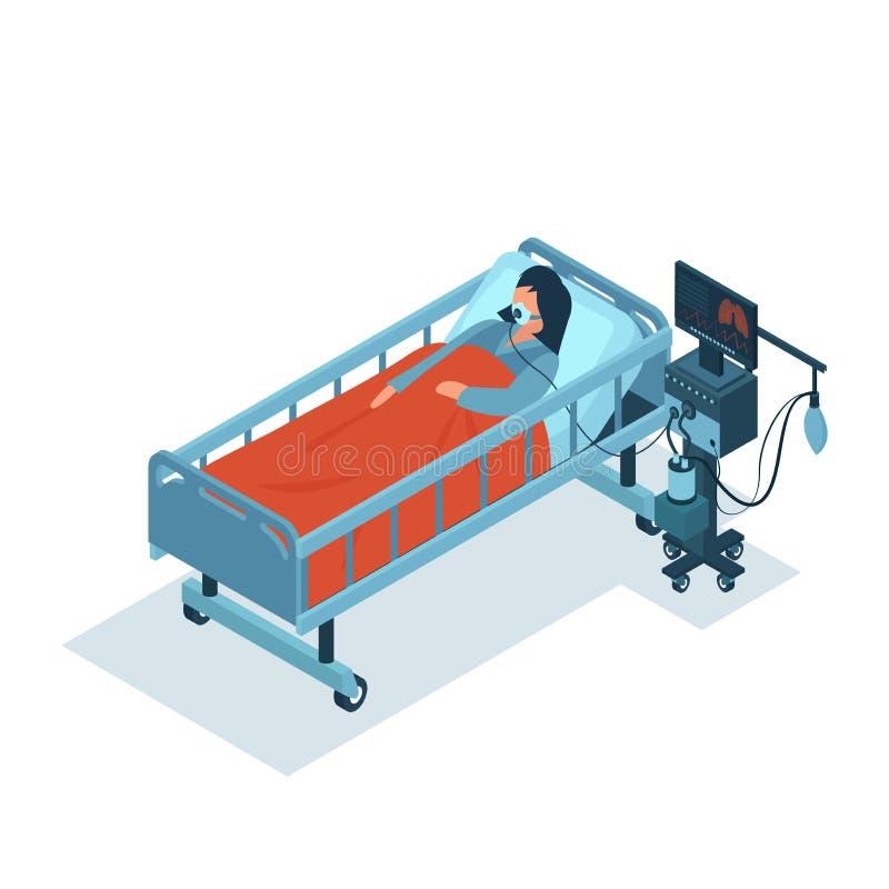 Isometrischer Vektor eines kritisch kranken Patienten auf einem Beatmungsgerät, das eine Sauerstofftherapie erhält lizenzfreie abbildung