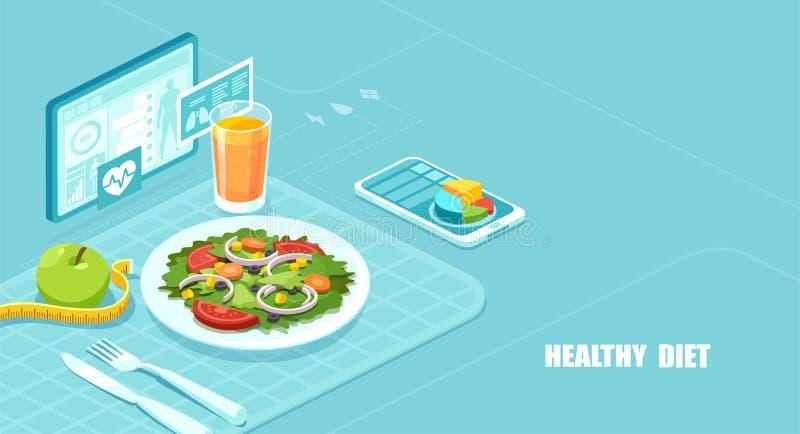 Isometrischer Vektor eines Nahrung App, der Nahrungstatsachen zeigt und in Kalorienzählung einer Mahlzeit unterstützt stock abbildung