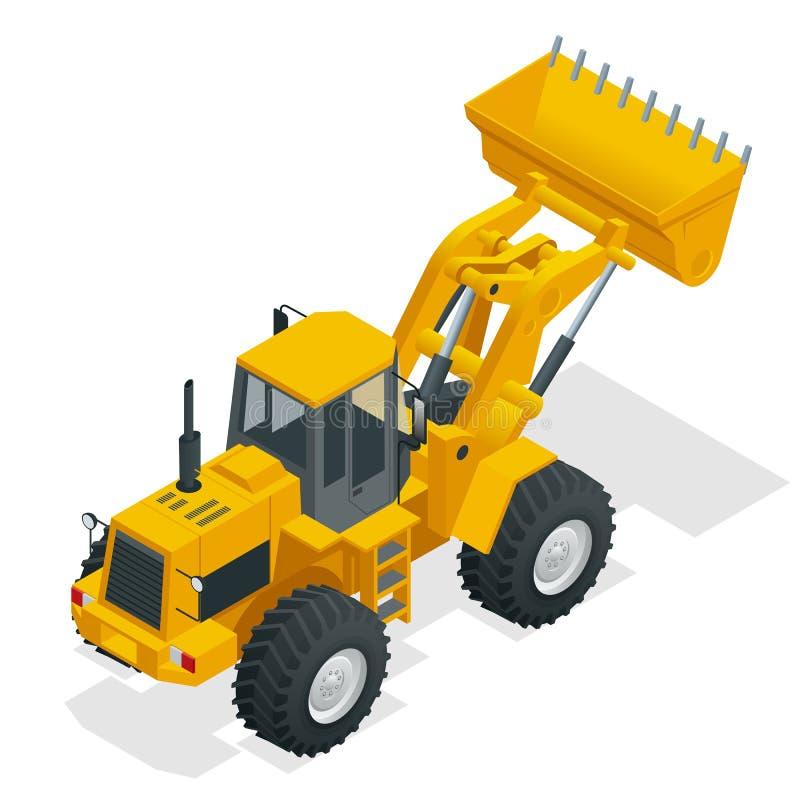 Isometrischer Vektorillustrationsgelb-Planierraupentraktor, Baumaschine, Planierraupe lokalisiert auf Weiß Gelbes Rad lizenzfreie abbildung