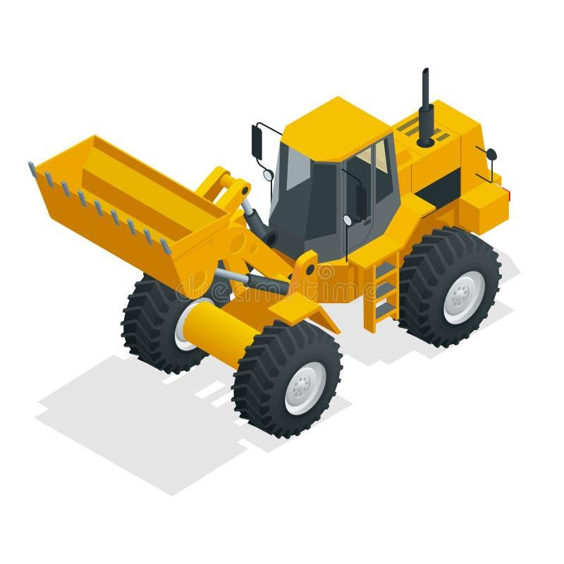 Isometrischer Vektorillustrationsgelb-Planierraupentraktor, Baumaschine, Planierraupe lokalisiert auf Weiß Gelbes Rad vektor abbildung